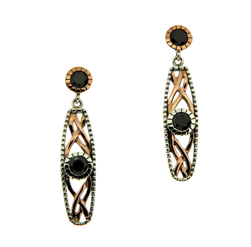 S/sil Oxidized + 10k Rose Black CZ Brave Heart Post Earrings By Keith Jack