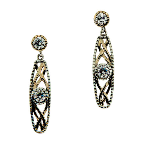 S/sil Oxidized + 10k Yellow CZ Brave Heart Post Earrings By Keith Jack
