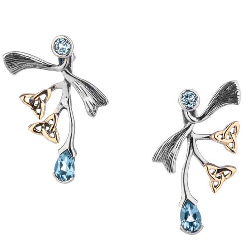 S/sil Oxidized + 10k Sky Blue Topaz Asymmetrical Rhapsody Post Earrings By Keith Jack