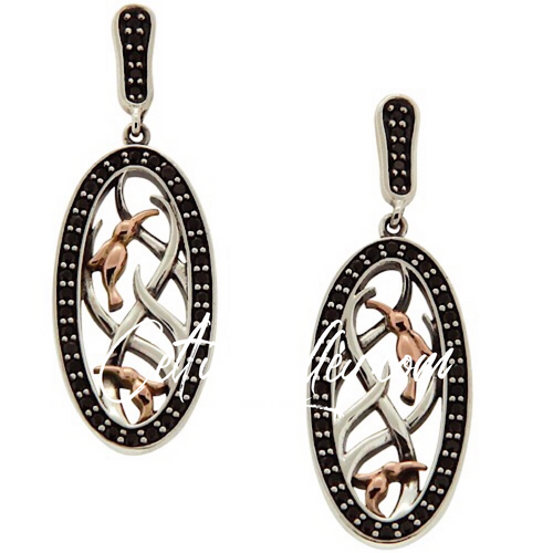 S/sil + 10k Rose Black CZ Double Hummingbird Post Earrings By Keith Jack