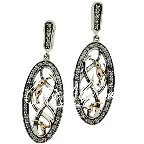 S/sil + 10k White CZ Double Hummingbird Post Earrings By Keith Jack PEX8914-CZ