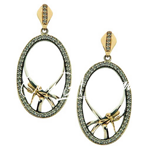 S/sil + 10k CZ Dragonfly Gateway Post Earrings By Keith Jack