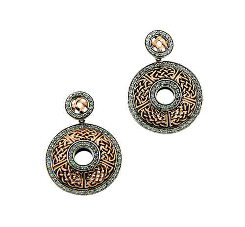S/sil + 10k Rose CZ Brave Heart Round Post Earrings By Keith Jack