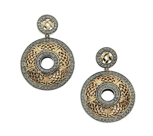 S/sil + 10k CZ Brave Heart Round Post Earrings By Keith Jack