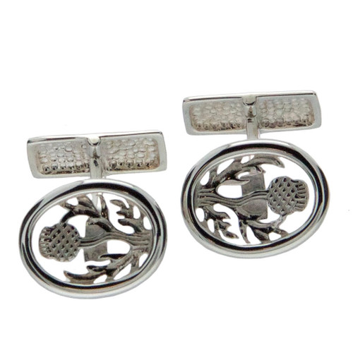 Sterling Silver Thistle Cufflinks by KEITH JACK PCL1294T