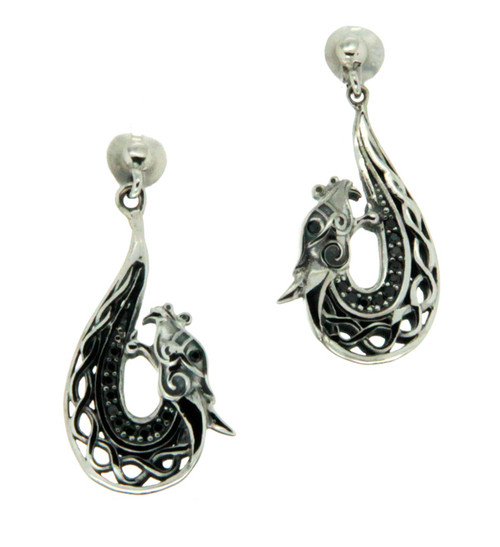 S/sil Black CZ Dragon Post Earrings By Keith Jack