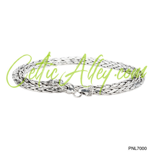 Sterling Silver Dragon Weave Wheat Link Bracelet with Lobster Claw by KEITH JACK