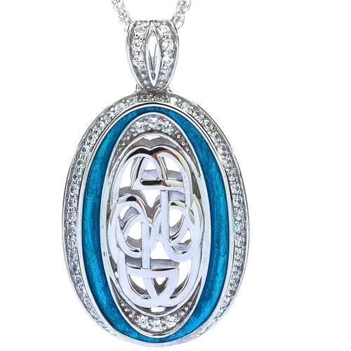 S/sil Sky Blue Enamel CZ Path of Life Large Pendant By Keith Jack