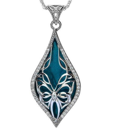 Sterling Silver Sky Blue Enamel White CZ Cocooned Butterfly Pendant By Keith Jack