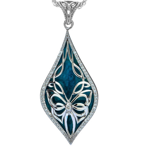 S/sil Sky Blue Enamel White CZ Cocooned Butterfly Small Pendant  By Keith Jack