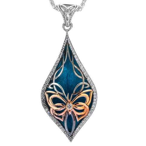S/sil Ruthenium + 10k Rose Sky Blue Enamel White CZ Cocooned Butterfly Pendant By Keith Jack