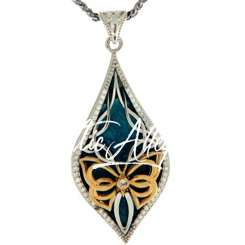 S/sil + 10k Sky Blue Enamel White CZ Cocooned Butterfly Pendant By Keith Jack