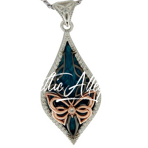 S/sil Ruthenium + 10k Rose Sky Blue Enamel White CZ Cocooned Butterfly Small Pendant  By Keith Jack