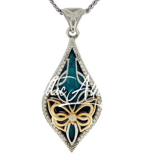 S/sil + 10k Sky Blue Enamel and White CZ Cocooned Butterfly Small Pendant  By Keith Jack