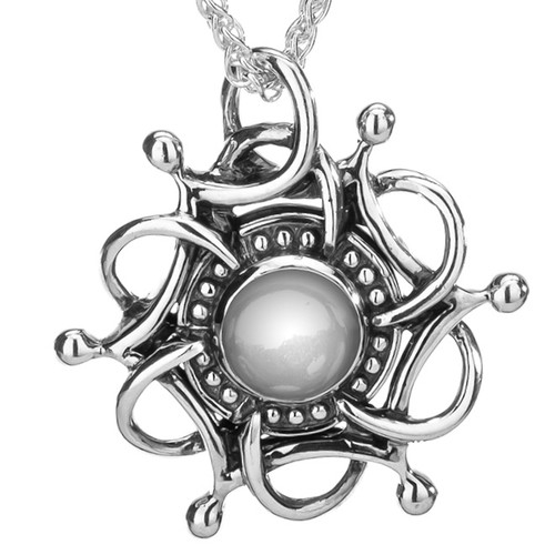 S/sil Oxidized White Topaz Cab Tempest Pendant By Keith Jack