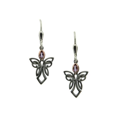 S/sil Ruthenium + 10k Rose Amethyst Guardian Angel Leverback Earrings By Keith Jack