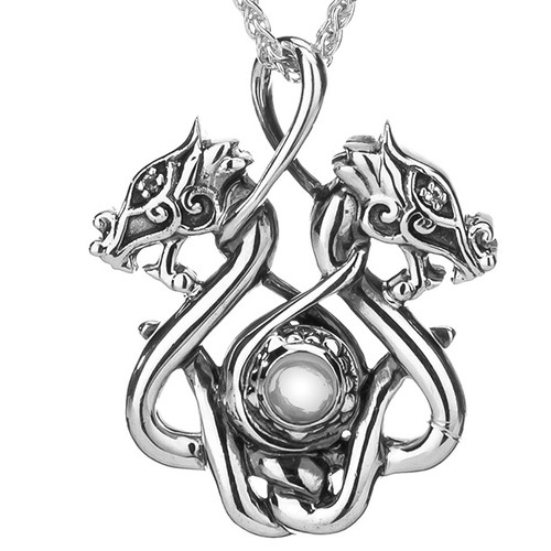 S/sil Oxidized White Topaz Cab Double Headed Dragon Small Pendant  By Keith Jack