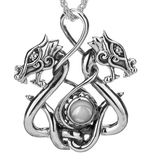 S/sil White Topaz Cab Double Headed Dragon Pendant By Keith Jack