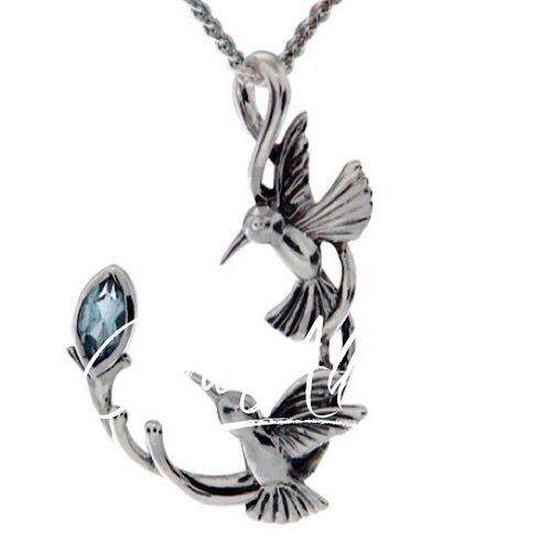 DOUBLE HUMMINGBIRD PENDANT In Sterling Silver and Blue Topaz by Keith Jack PPS6108-BT