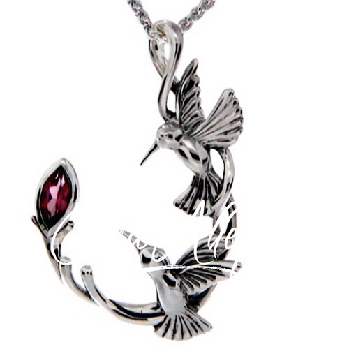 DOUBLE HUMMINGBIRD PENDANT in Sterling Silver and Rhodolite Garnet byKeith Jack PPS6108-RHO