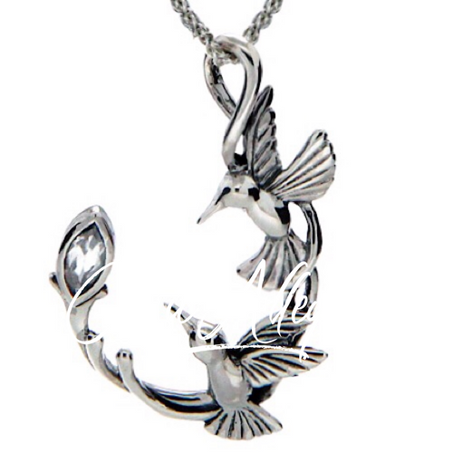 DOUBLE HUMMINGBIRD PENDANT In Sterling Silver and White Topaz by Keith Jack PPS6108-WT