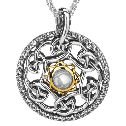 S/sil Oxidized + 10k White Topaz Cab Lovers Knot Tempest Pendant By Keith Jack