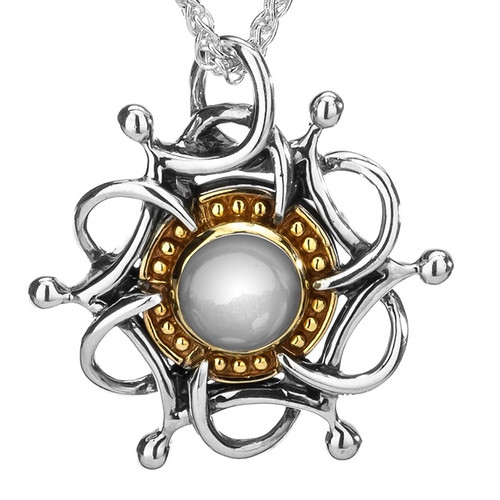 S/sil Oxidized + 10k Cabachon White Topaz Tempest Pendant By Keith Jack
