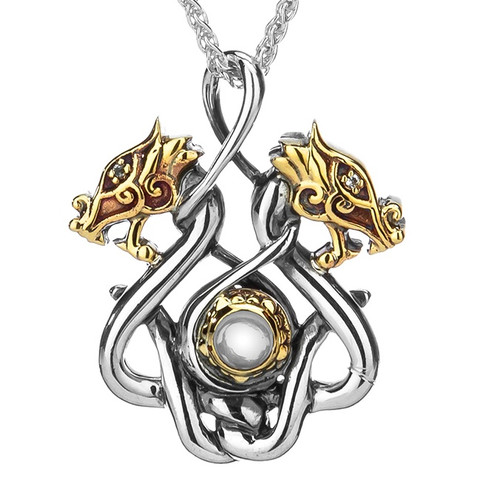 S/sil Oxidized + 10k White Topaz Cab Double Headed Dragon Small Pendant  By Keith Jack