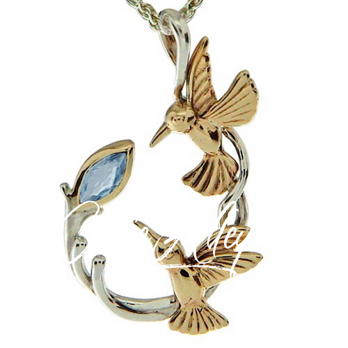 S/sil + 10k Marquis Blue Topaz Double Hummingbird Pendant By Keith Jack