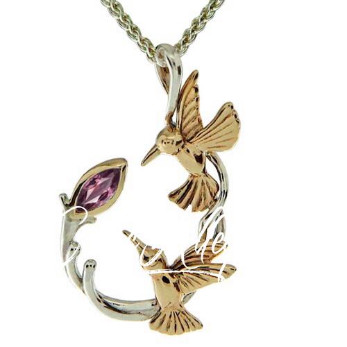 S/sil + 10k Marquis Rhodolite Garnet Double Hummingbird Pendant By Keith Jack