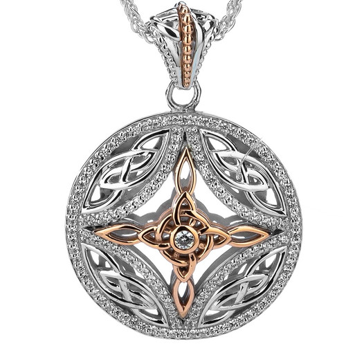 S/sil Rhodium + 10k Rose CZ Cross Pendant By Keith Jack