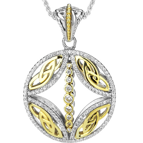 S/sil Rhodium + 10k White & Black CZ Reversible Bridge Pendant By Keith Jack