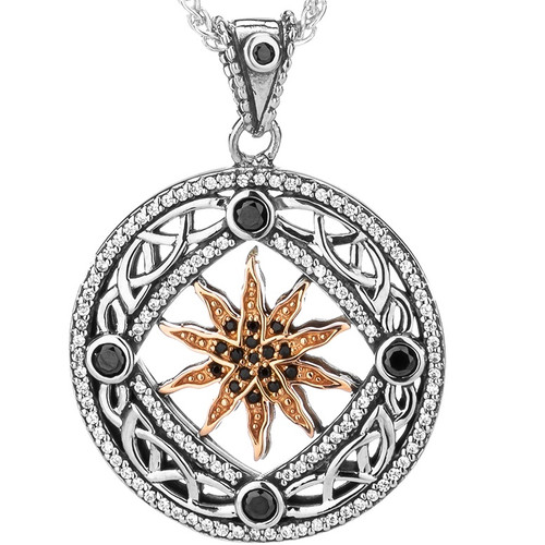 Sterling Silver Oxidized and 10k Rose Black & White CZ Freyr Pendant By Keith Jack