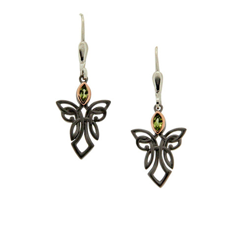 S/sil Ruthenium + 10k Rose Peridot Guardian Angel Leverback Earrings By Keith Jack