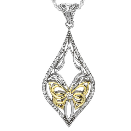 S/sil + 10k White CZ Cocooned Butterfly Pendant By Keith Jack