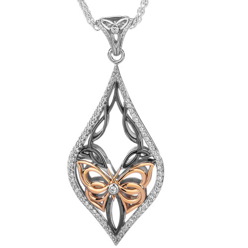 S/sil Rhutenium + 10k Rose White CZ Cocooned Butterfly Pendant By Keith Jack