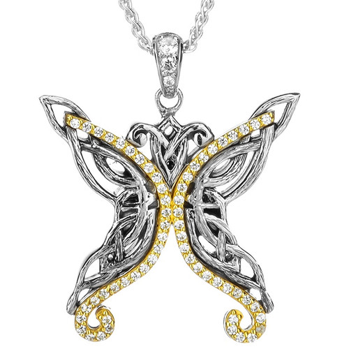 S/sil Rhodium + 10k White CZ Barked Butterfly Pendant By Keith Jack