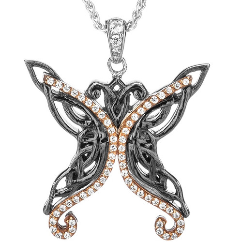 S/sil Ruthenium + 10k Rose White CZ Barked Butterfly Pendant By Keith Jack
