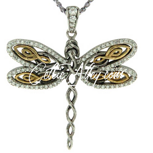 CZ DRAGONFLY PENDANT in Sterling Silver / Dark Rhodium and 10k Gold and White Cubic Zirconia By Keith Jack PPX6240