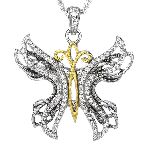 S/sil + 10k White CZ Barked Soaring Butterfly Pendant By Keith Jack