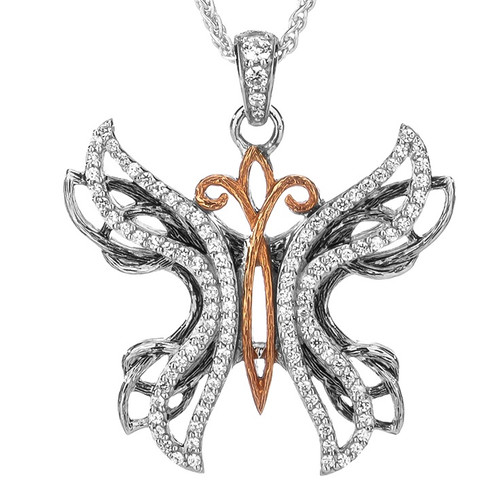 S/sil + 10k Rose White CZ Barked Soaring Butterfly Pendant By Keith Jack