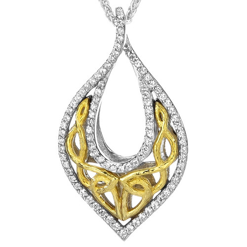 S/sil Rhodium + 10k Yellow CZ Love's Chalice Pendant By Keith Jack