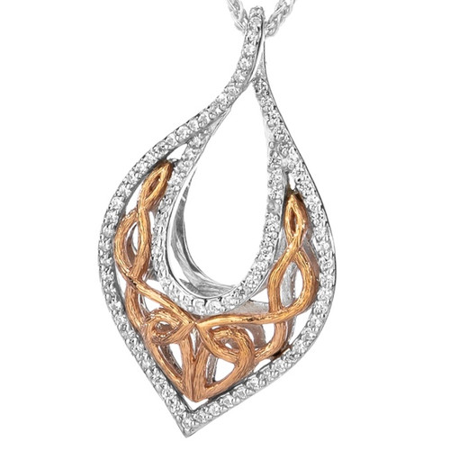 S/sil Rhodium + 10k Rose CZ Love's Chalice Pendant By Keith Jack