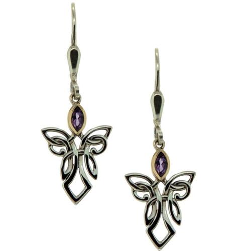 S/sil + 10k Amethyst Guardian Angel Earrings By Keith Jack