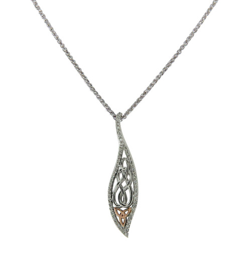 S/sil Rhodium + 10k Rose CZ Leaf Pendant By Keith Jack
