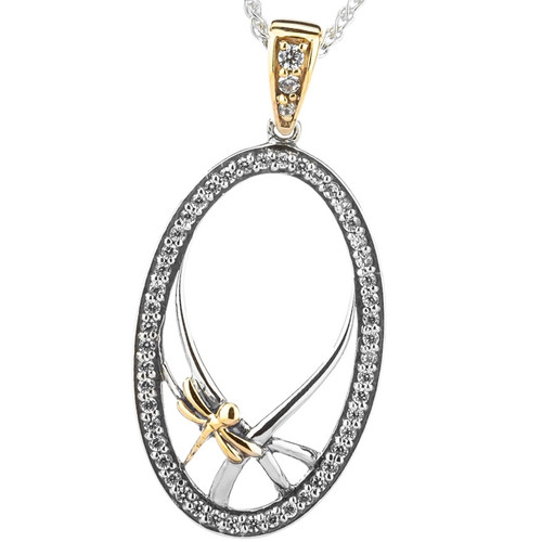 S/sil + 10k CZ Dragonfly Gateway Small Pendant  By Keith Jack