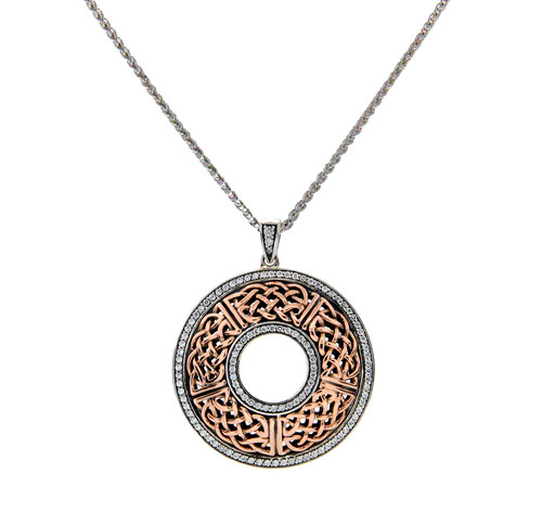 S/sil + 10k Rose CZ Brave Heart Round Large Pendant By Keith Jack