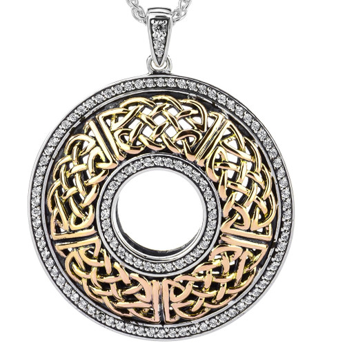 S/sil + 10k CZ Brave Heart Round Large Pendant By Keith Jack