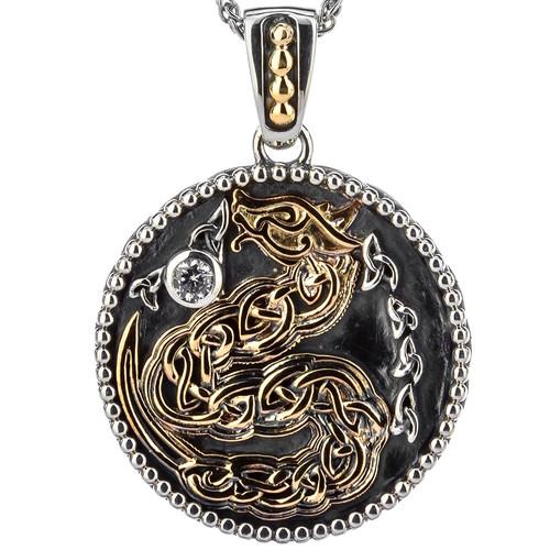 S/sil Oxidized + 10k CZ Medallion Reversible Dragon Pendant  By Keith Jack