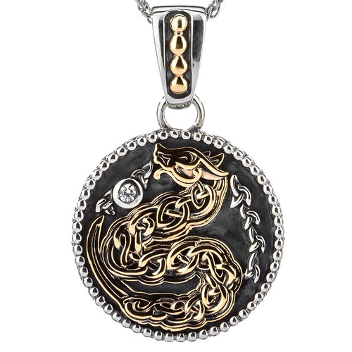 S/sil Oxidized + 10k CZ Medallion Reversible Dragon Small Pendant  By Keith Jack